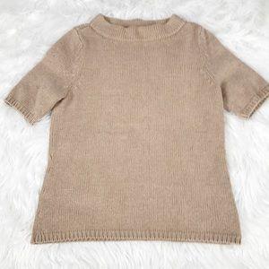 Talbots Carmel Brown Short Sleeve Sweater